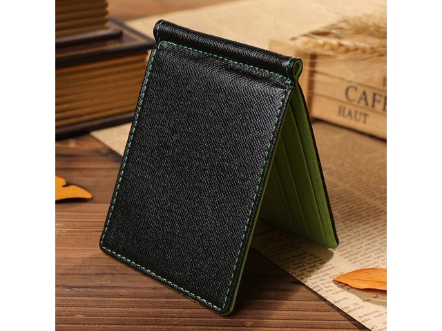 Mens Dollar Clip PU Leather Cash Card Holder Purse Clutch Wallet Green (605020120501 Belts & Suspenders) photo