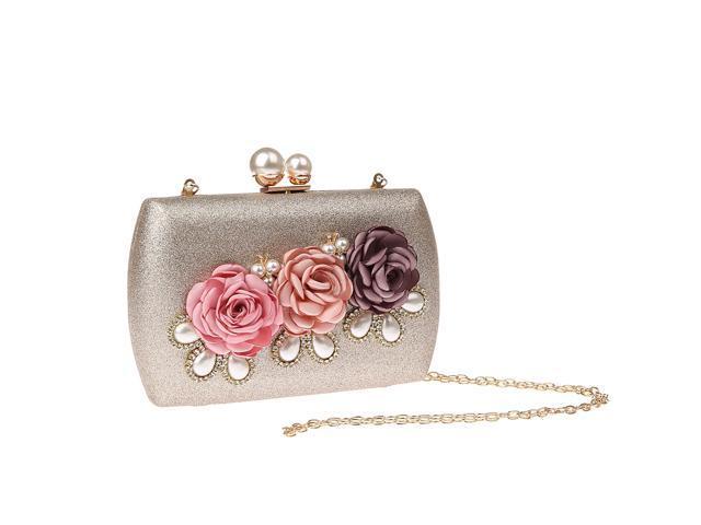 Womens Rose Flower Evening Clutch Bag Wedding Party Handbag Purse Champagne (703757197268 Belts & Suspenders) photo