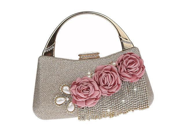 Handbags Wedding Clutch Purse Evening Bags Dinner Bags for Women Champagne (753128984225 Belts & Suspenders) photo