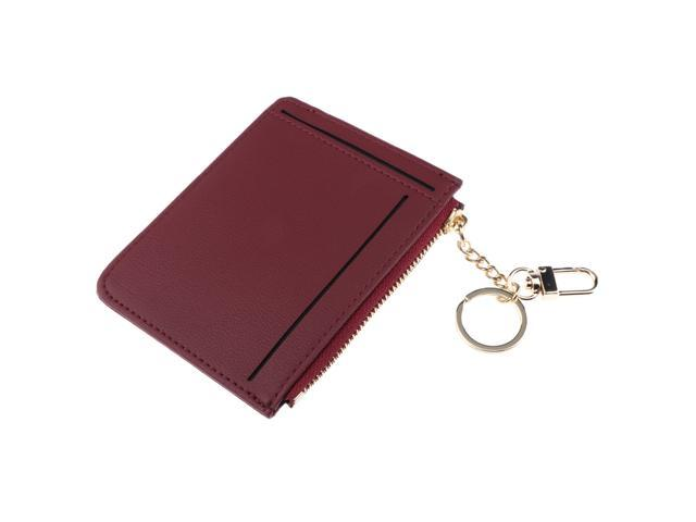 Womens Slim Leather Card Holder Front Pocket Wallet Change Purse keychain Wine Red (703757691971 Belts & Suspenders) photo