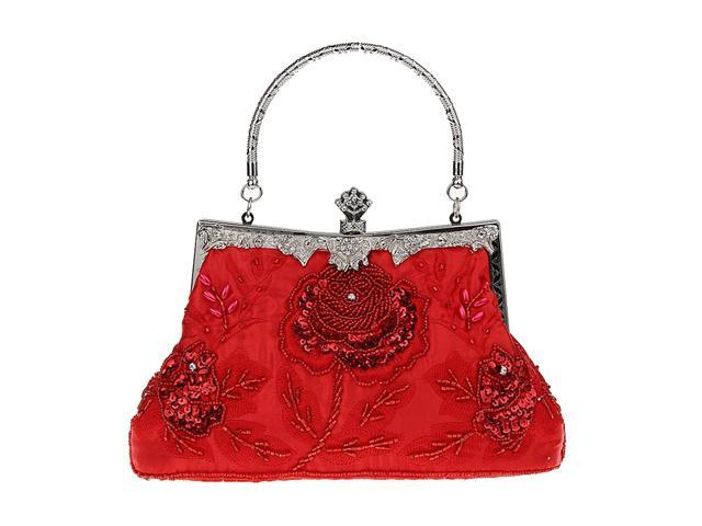 Woman Embroidery Evening Handbag Clutch Purse Shoulder Chain Bag red (760339662163 Belts & Suspenders) photo