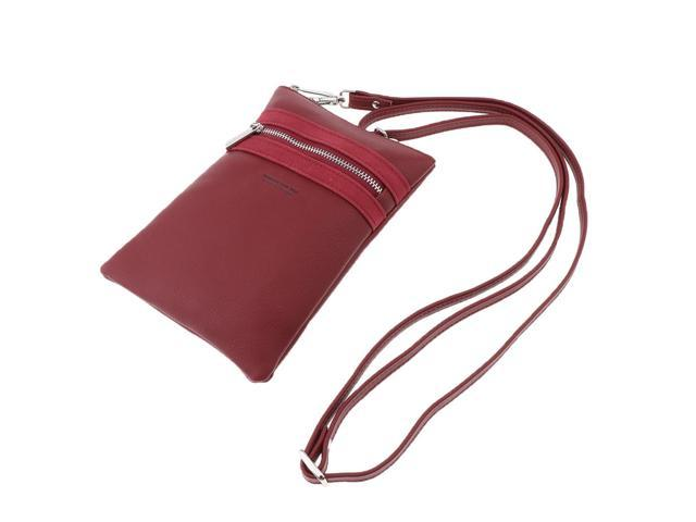 Women Girls Small Cell Phone Wallet Purse with Credit Card Slot Wine Red (703666934145 Belts & Suspenders) photo