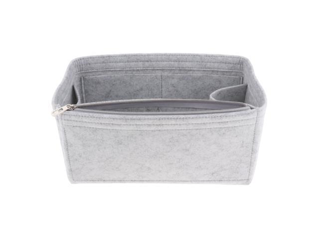 Felt Zippered Handbag Insert Purse Cosmetic Makeup Organizer Bag in Bag Light Gray (721838450330 Belts & Suspenders) photo