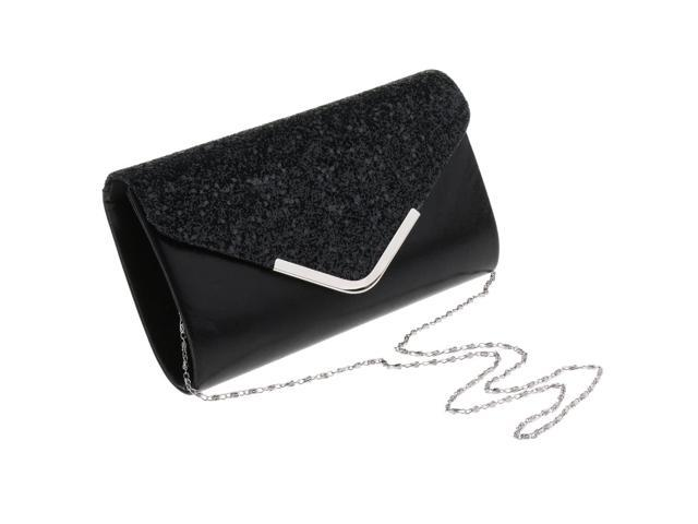 Womens Sequin Envelope Clutch Purses Evening Bag Handbags Crossbody Chain Black (745270139974 Belts & Suspenders) photo