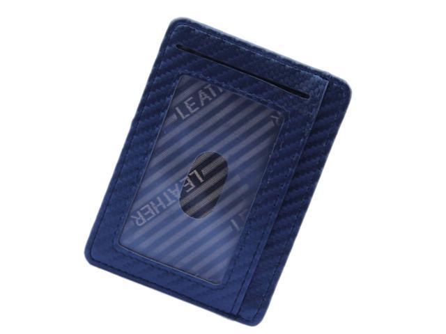 Mens Slim Leather Card Holder Front Pocket Wallet Change Coin Purse Blue (760339638939 Belts & Suspenders) photo