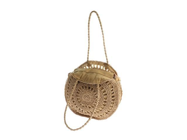 Flower Round Straw Purse Handmade Tote Purse Shoulder Bag Light Brown (605020446014 Belts & Suspenders) photo