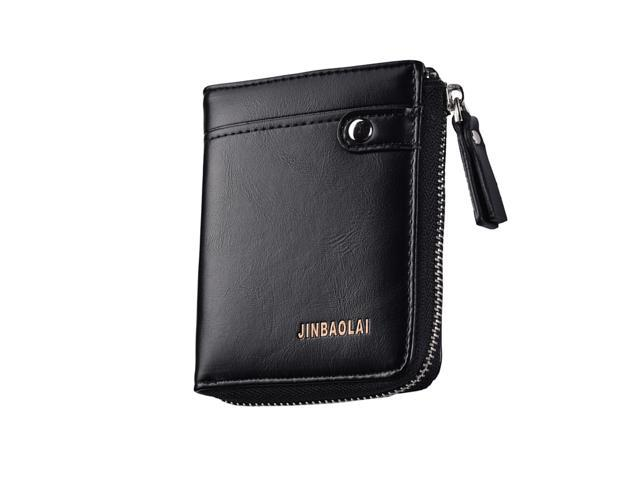Men's Retro PU Leather Zipper Wallet Coin Card Holder Bifold Purse Black (753128800730 Belts & Suspenders) photo