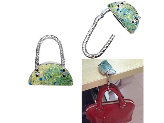 Folding Rhinestone Handbag Purse Table Hook Hanger Bag Table Holder Green (689728436782 Belts & Suspenders) photo