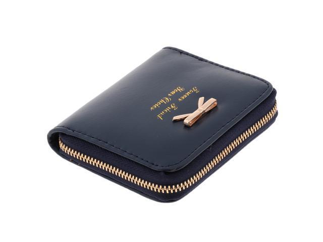 Girl Women PU Leather Wallet Purse Card Holder Coin Money Zipper Bag Navy (752183216647 Belts & Suspenders) photo