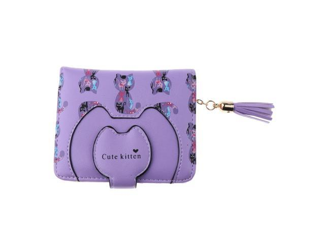 Girls Women Tassel Wallet Button Bifold Card Holder Coin Purse Clutch Purple (760339646507 Belts & Suspenders) photo
