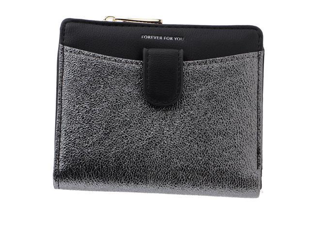 Women Short Wallet Mini Purse Bifold Leather Wallet with ID Window Black (703666917971 Belts & Suspenders) photo