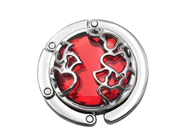 Desk Table Crystal Heart Design Purse Handbag Hanger - Red (084282072849 Belts & Suspenders) photo