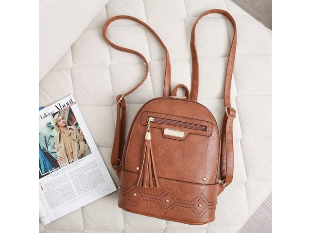 PU Leather Backpack Purse Casual Shoulder Bag Lightweight School Bags Brown (656852254407 Belts & Suspenders) photo