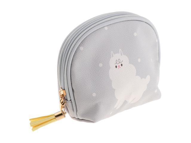 Cute Mini PU Leather Coin Bag Change Purse Wallet Key Pouch Women Girls Light Gray (703655705848 Belts & Suspenders) photo