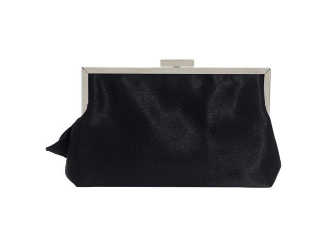 Women Satin Crystals Ruffled Party Evening Envelope Clutch Bag Bridal Purse (747739135510 Belts & Suspenders) photo