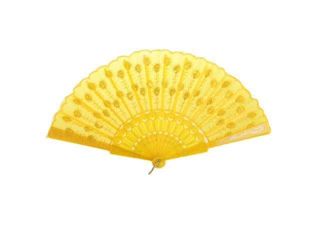 Yellow Fabric Hand Fan Bronzing Sequin Plastic Folding Purse Girl Party Gift (745270155394 Belts & Suspenders) photo
