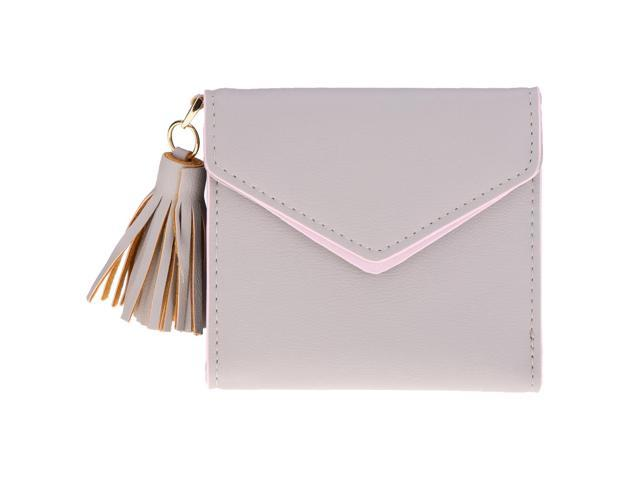 Women Girl PU Leather Mini Tassel Wallet Coin Purse Card Holder Gray (760339874238 Belts & Suspenders) photo