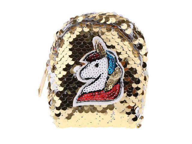 Girls Sequin Unicorn Coin Purse Mini Backpack Bag Charm with Keychain Gold (703757479241 Belts & Suspenders) photo