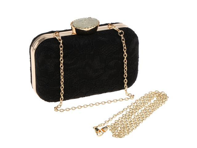 Woman Lace Evening Handbag Clutch Purse Ladies Shoulder Chain Bag Black (760339798879 Belts & Suspenders) photo