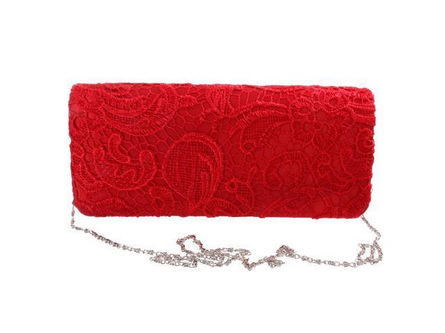 Women Satin Party Wedding Purse Bridal Shoulder Clutch Bag Chain Handbag Red (753128300483 Belts & Suspenders) photo