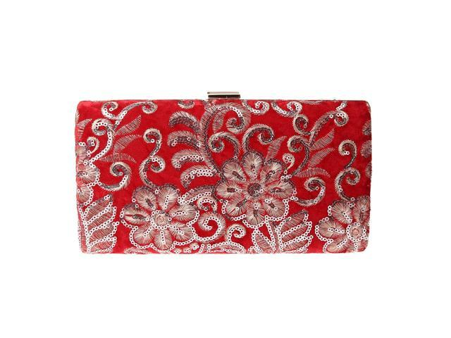 Women Evening Clutch Bags, Sequins Floral Night Purse Handbag Party Red (703656724855 Belts & Suspenders) photo
