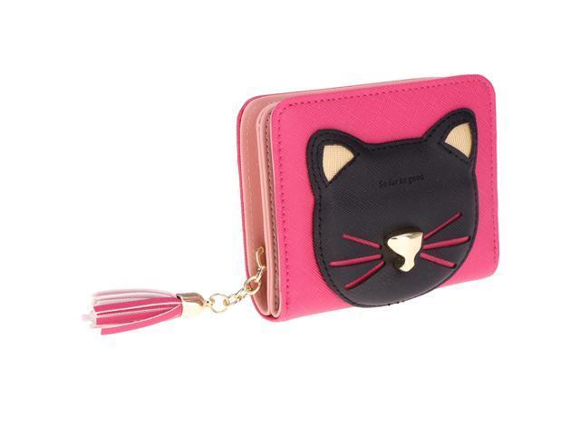 Tassel Wallet Short Zipper Change Coin Card Holder Cat Design Purse Rose Red (760339825742 Belts & Suspenders) photo