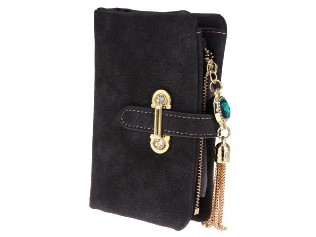 Women Girls Fashion Tassel pendant Decor Bifold Wallet Purse Clutch black (605020876682 Belts & Suspenders) photo