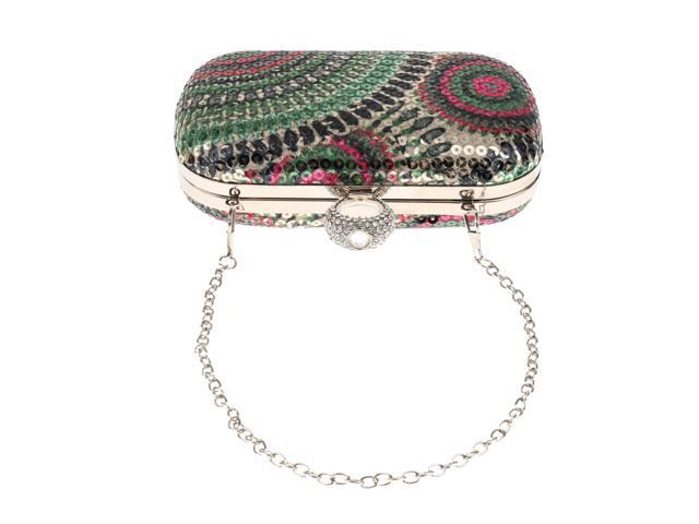 Ethnic Sequin Clutch Bag Bridal Multi-purpose Purse Wallet Handbag Green (787959397275 Belts & Suspenders) photo