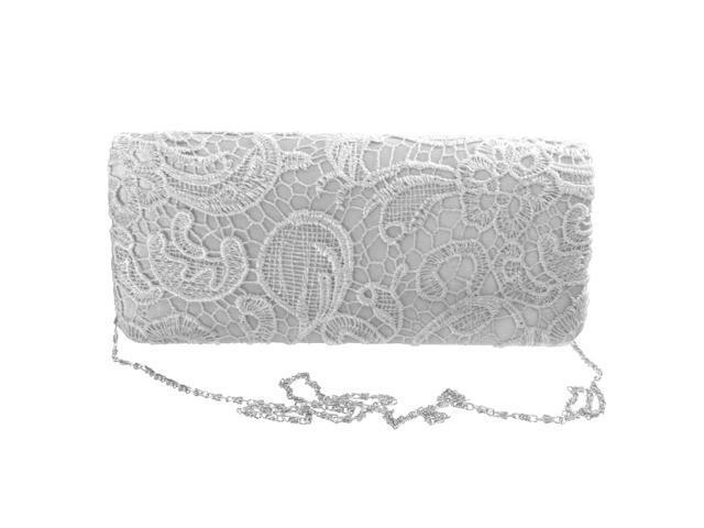Women Party Wedding Purse Bridal Shoulder Clutch Bag Chain Handbag Silver (753128300469 Belts & Suspenders) photo
