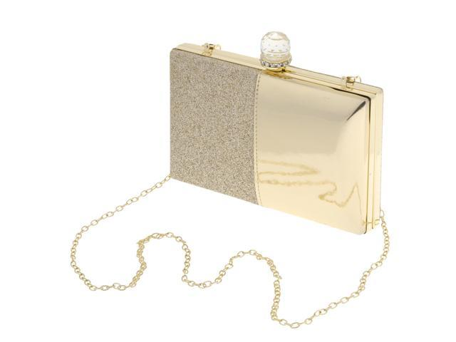 Women's Glitter Clutch Bag Evening Handbag Wedding Prom Party Purse Gold (760339689078 Belts & Suspenders) photo