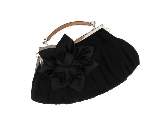 Fashion Flower Evening Handbag Clutch Purse Woman Shoulder Chain Bag Black (605020123649 Belts & Suspenders) photo