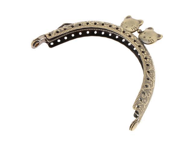 Antique Metal Arch Purse Frame Kiss Clasp Lock Bag Clutch Frame DIY Craft 8.5cm (703666874465 Belts & Suspenders) photo
