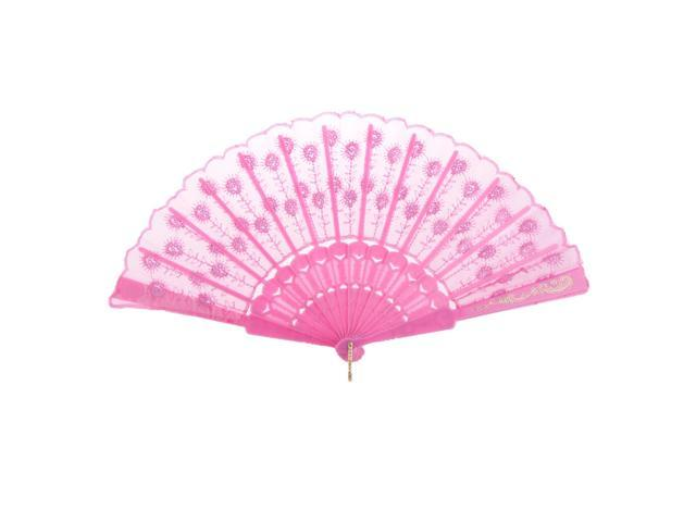 Pink Fabric Hand Fan Bronzing Sequin Plastic Folding Purse Girl Party Gift (745270155356 Belts & Suspenders) photo
