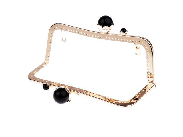 Purse Bag Craft Frame Kiss Clasp Lock Purse 20cm Light gold black pearls (745270299210 Belts & Suspenders) photo