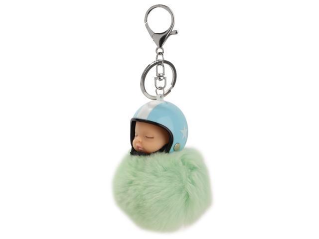 Soft Sleeping Baby Doll pattern Keyring Bag Purse Car Key Chain Light Green (760339656889 Belts & Suspenders) photo