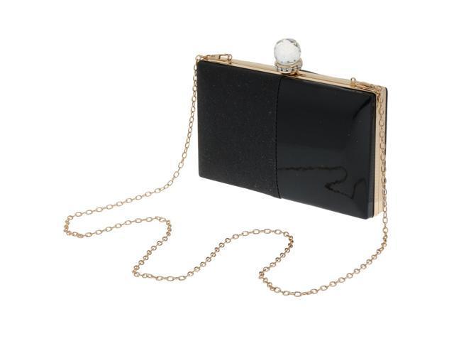 Women's Glitter Clutch Bag Evening Handbag Wedding Prom Party Purse Black (760339689054 Belts & Suspenders) photo