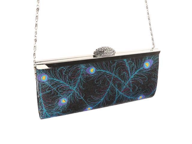 Women Cute Rhinestone Clutch Bags Party Purse Chain Handbag Dark Blue (760339827753 Belts & Suspenders) photo