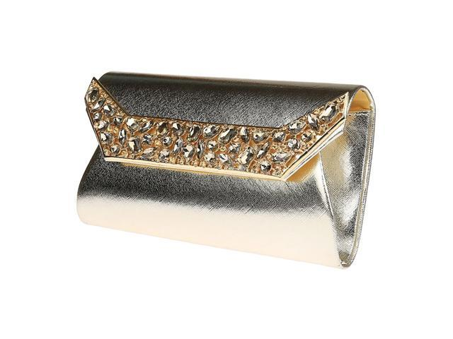 Evening Party Cocktail Clutch Purse Wallet Handbag Shoulder Chain Bag light gold (703656943317 Belts & Suspenders) photo
