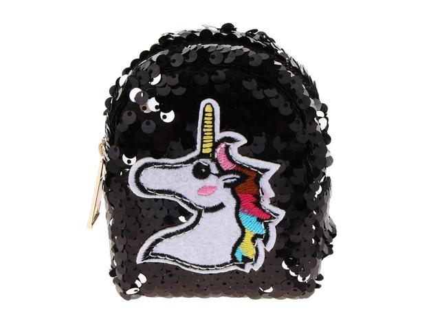 Girls Sequin Unicorn Coin Purse Mini Backpack Bag Charm with Keychain Black (703757479289 Belts & Suspenders) photo