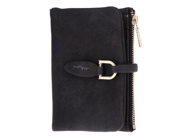 Women Girls PU Leather Frosted Purse Clutch Coin Bag Bifold Wallet black (605020812574 Belts & Suspenders) photo