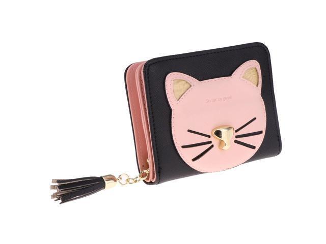 Tassel Wallet Short Zipper Change Coin Card Holder Cat Design Purse Black (760339825759 Belts & Suspenders) photo