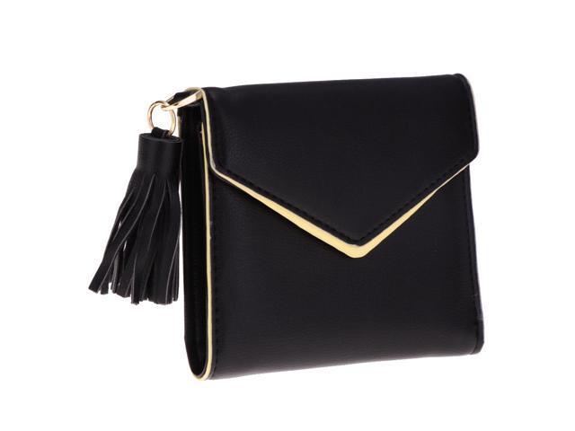 Women Girl PU Leather Mini Tassel Wallet Coin Purse Card Holder Black (760339874245 Belts & Suspenders) photo
