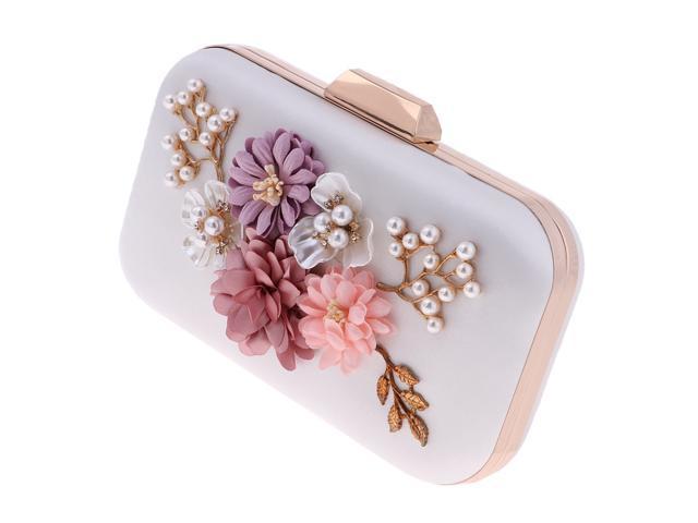 Luxury Satin Flower Clutches Evening Bag Handbag Wedding Clutch Purse white (760339650900 Belts & Suspenders) photo