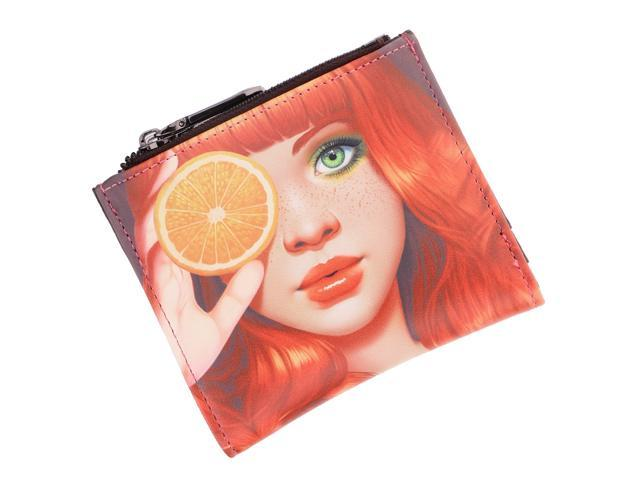 Women Girls PU Leather Purse Cartoon Clutch Coin Bag Bifold Wallet Lemon girl (760339727596 Belts & Suspenders) photo