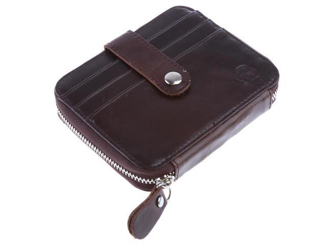 Retro Men's Coin Purse with Card Holder Zipper Pouch Wallet Brown (605020144347 Belts & Suspenders) photo
