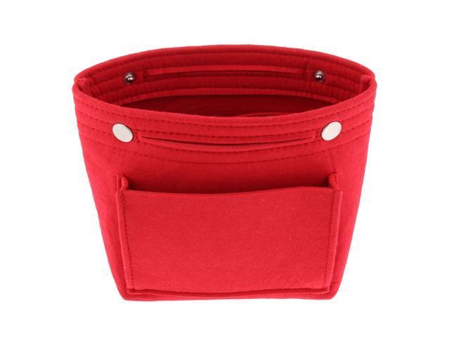 Felt Tote Handbag Insert Purse Organizer Cosmetic Pouch Shaper Bag in Bag Red (605020437036 Belts & Suspenders) photo