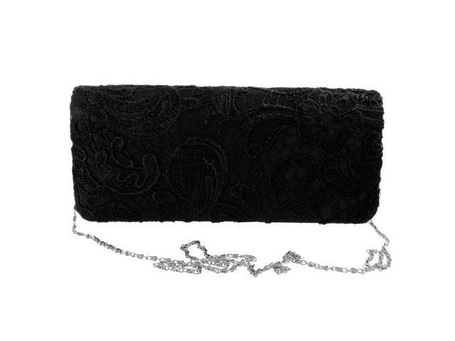 Women Party Wedding Purse Bridal Shoulder Clutch Bag Chain Handbag Black (753128300490 Belts & Suspenders) photo