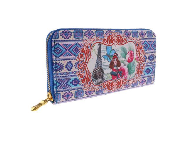 Retro Lady Women Clutch Wallet Long Case Purse Smart Phone Bag LT Blue Girl (605020807068 Belts & Suspenders) photo