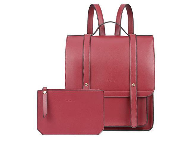 Laptop Backpack Women Briefcase PU Leather Satchel Backpack for School Messenger Bag Fits up to 14 Inch Laptop with Small Purse Red (Electronics Computer Components Laptop Parts) photo