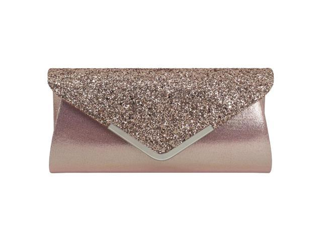 Women Glitter Sparkling Handbag Evening Party Clutch Bag Purse Pink (725987340009 Belts & Suspenders) photo